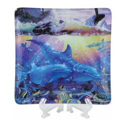 WL - 6 x 6 Inch Impressionistic Modern Dolphin Scene Ocean Danse Plate - This gorgeous 6 x 6 Inch Impressionistic Modern Dolphin Scene Ocean Danse Plate has the finest details and highest quality you will find anywhere! 6 x 6 Inch Impressionistic Modern Dolphin Scene Ocean Danse Plate is truly remarkable.