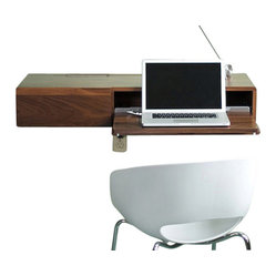urbancase - The Ledge Wall Desk/Shelf - Designed by Trey Jones and Darin Montgomery, The Ledge is a Wall mounted multi-functional furniture system. It can be used as a secretary, stereo/media cabinet, or shelf with hidden storage.