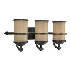 Seagull - Seagull Roslyn Bathroom Lighting Fixture in Flemish Bronze - Shown in picture: 44522-845 Three Light Wall/Bath Light in Flemish Bronze finish with Creme Parchment�Glass