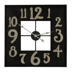 Cooper Classics Brazos Wall Clock - 24 in. Wide - The traditional analog wall clock gets a fun modern makeover with the Cooper Classics Brazos Wall Clock. This large clock an open-centered metal frame with large stylized numerals and an elegant black metal and antique silver finish.About Cooper ClassicsCooper Classics was founded over 50 years ago and is currently operated by the third generation of the Cooper family. Their production and warehousing facilities are located in the Blue Ridge Mountains of Virginia, where they produce uniquely styled mirrors and accessory furniture. Because of their extensive background in wood product manufacturing, they excel in the design and production of solid wood mirror frames and furniture. Cooper's commitment to their customers is to provide products with outstanding quality and styling while maintaining a competitive price.