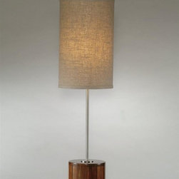 Bassett Mirror - Chrome Table Lamp w Wood Base in Dark Honey F - Brown shade. Dark honey finish wood base. Shade: 8.5 in. L x 8.5 in. W x 16 in. H. Lamp: 31.5 in. H (4 lbs.)