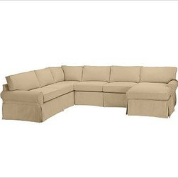 """PB Basic Left 4-Piece Chaise Sectional Slipcover, Twill Camel - Designed exclusively for our PB Basic Sectional, these easy-care slipcovers have a casual drape, retain their smooth fit, and remove easily for cleaning. Select """"Living Room"""" in our {{link path='http://potterybarn.icovia.com/icovia.aspx' class='popup' width='900' height='700'}}Room Planner{{/link}} to select a configuration that's ideal for your space. This item can also be customized with your choice of over {{link path='pages/popups/fab_leather_popup.html' class='popup' width='720' height='800'}}80 custom fabrics and colors{{/link}}. For details and pricing on custom fabrics, please call us at 1.800.840.3658 or click Live Help. All slipcover fabrics are hand selected for softness, quality and durability. {{link path='pages/popups/sectionalsheet.html' class='popup' width='720' height='800'}}Left-arm or right-arm configuration{{/link}} is determined by the location of the arm on the love seat as you face the piece. This is a special-order item and ships directly from the manufacturer. To view our order and return policy, click on the Shipping Info tab above."""