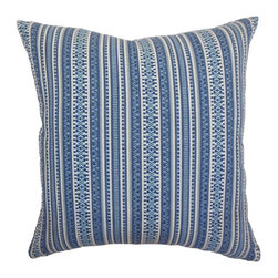 """The Pillow Collection - Gawanna Stripes Pillow Blue 18"""" x 18"""" - This unique throw pillow is a definite stand out with its interesting stripes print pattern. The fabric features a woven texture and made from 100% soft cotton fabric. The stripes pattern which runs vertically is a blend of blue and white. Combine this decor pillow with matching patterns and colors. This accent pillow is a great option for many decor styles, including: contemporary, traditional, coastal and more. Hidden zipper closure for easy cover removal.  Knife edge finish on all four sides.  Reversible pillow with the same fabric on the back side.  Spot cleaning suggested."""