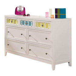 Hooker Furniture - Opus Designs Lily Seven Drawer Dresser in Eggshell White - Hooker Furniture - Dressers - 150846261 - Express yourself with color and personalize your room with Lily. Offered in a clean eggshell white finish Lily features removable color accent panels on case fronts and beds. Four color options for a total of eight color choices are stored inside the drawer fronts. Simply remove the knob and you can slide the panels in and out to create an array of color schemes. Mix and match the colors of midnight snowflake limelight blue ice cocoa lavender blush sea breeze and bubblegum.