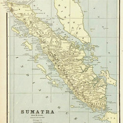 Consignment Original Antique Map of Sumatra, Indonesia, 1889 - Original antique lithograph of the Indonesian island of Sumatra when it was a part of the Dutch East Indies colony from 1889. Over 100 years old.