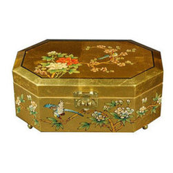 Oriental Furniture - Violetta Jewelry Box - Gold - This elegant lacquered jewelry box was handcrafted by artisans in the Guangdong province of mainland China. The excellence of their craft is evident in the delicate, hand-painted details, the carefully fitted carpentry, and the rich, smooth lacquer finish. The compartment is lined with fine red felt, and features a removable ring tray. This jewelry box makes a wonderful gift for a loved one, or a special treat for yourself!