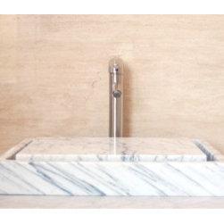 Mediterranean Bathroom - Eden Bath EB_S006CW-P Stone Vessel Rectangular Infinity Pool Sink in White Carrara Marble