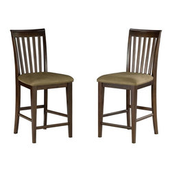 Atlantic Furniture - Atlantic Furniture Mission Pub Chair in Antique Walnut (Set of 2) - Atlantic Furniture - Bar Stools - AD771234 - The Atlantic Furniture Mission Pub Chairs are constructed from Eco-friendly solid hardwood and have an elegant Antique Walnut wood finish. This set of two pub chairs feature a vertical slat back design and a Cappuccino colored seat cushion. The Mission Pub Chairs are perfect for a casual dining room setting.