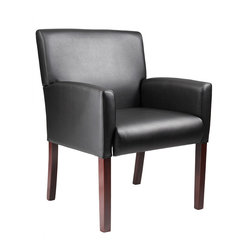 Boss Chairs - Boss Chairs Boss Reception Box Arm Chair with Mahogany Finish - Mid-back box arm chair. Upholstered with ultra soft and durable Caressoft upholstery. Mahogany wood finish. Chairs can be ganged together with optional kit (B6GC). Optional spacer table available (B6ST-M), hardware included. Optional corner table available (B6CT-M), hardware included.