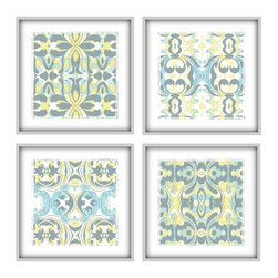 Studio D&K - Light Blue And Yellow Large Art Arrangement Set of 4 Prints, 14x14 - Set of Four 14x14 Abstract Art Prints in Various Shades of Blue, Yellow, and Grey