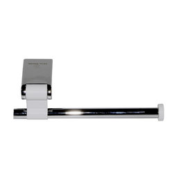 Manillons - Iris Toilet paper holder w/o lid. Polished Chrome-White - This svelte vessel needs no pesky cover, making changing the roll both easy and beautiful. White aluminum accents the brass polished chrome that defines this minimalist design.