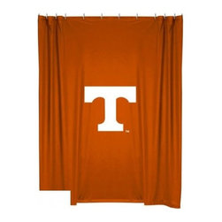 Sports Coverage - Tennessee Volunteers Shower Curtain - This 72 x 72 officially licensed Tennessee University Volunteers shower curtain of jersey material with logo is perfect for any bathroom in need of a little extra team spirit. It weighs approximately one pound and is screen printed with Plastisol. Shower Curtain is 100% Polyester Jersey