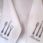 kitchen - Set of 2 Embroidered Personalized 100% Linen Towels - Silver Cutery-