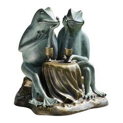 "SPI - Dining Frogs Garden Sculpture - -Size: 15"" H x 14.5"" W x 14.5"" D"
