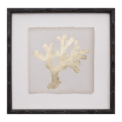 """Mirror Image Home - Mirror Image Home Gold Leaf Coral II - A subtle piece of art with dramatic impact, Coral II combines modern glam with natural marine elements. This coastal-inspired artwork from Mirror Image Home makes a statement in any decor with a single gold leaf coral in silhouette. 14.25"""" Square; One of a series I-IV; Gold leaf; Hand applied to archival paper; Bamboo frame with ebony finish; Hanging hardware included"""