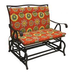 None - Blazing Needles Outdoor Double Glider/ Bench Seat/ Back Cushion - Lend a bright accent to your outdoor living space with this Blazing Needles double glider/ bench seat cushion. This comfortable back and seat cushion is made of weather-resistant 100-percent spun polyester for durable,stylish comfort.