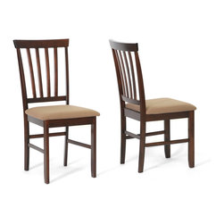Wholesale Interiors - Tiffany Brown Wood Modern Dining Chairs, Set of 2 - Because time with family is important to you, we introduce our stylish, inviting Tiffany Dining Chair. This single chair makes it easy to gather with loved ones. This dining room furniture piece is made with eco-friendly solid rubber wood with a beautiful very deep brown stain. Each dining room chair is carefully crafted with a slatted backrest and taupe brown fabric seat atop a cafr foam cushion. To clean, wipe with a dry cloth and/or spot clean. Made in Malaysia. Assembly is required.