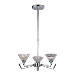 """Elk Lighting - Frenzy Modern Three-Light Chandelier - The excitement of mid-century design is evident in the Frenzy three-light Chandelier by Elk Lighting. Finished in Polished Chrome, this chandelier features angular arms that flair outward while beveled crystal glass emits an impressive textured light. This fixture accommodates three (3) 60 watt, type G9 halogen lamps, which are not included and its canopy measures 4.75"""" in diameter. This fixture includes: (1) 6"""" and (2) 12"""" extension rods with hang-straight."""