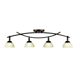 KICHLER - KICHLER Bellamy Transitional Rail Light X-ZO46124 - From the Bellamy Collection, this Kichler Lighting rail light features multiple warm umber etched glass shades. The undertones of the Olde Bronze finish compliment these shades while accentuating the curves of the fixture.