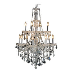 """PWG Lighting / Lighting By Pecaso - Portier 12-Light 28"""" Crystal Chandelier 6707D28C-RC - Classic, Old World look in an affordable price range makes this Portier Collection impressive. This collection has a stunning crystal centerpiece with chrome or gold frames."""