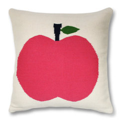 Pink Apple Pillow - A fun pillow like this to decorate a sofa or chair will bring a bit of the Big Apple into your home.
