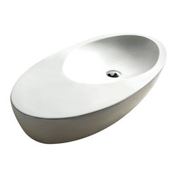 Caracalla - Oval White Ceramic Vessel Bathroom Sink, No Hole - Contemporary style, oval shaped white ceramic vessel bathroom Sink without overflow. Stylish above counter washbasin comes with no hole. Made in Italy by Caracalla.