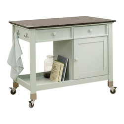 Sauder - Sauder Original Cottage Mobile Kitchen Island, Rainwater - Sauder - Kitchen Carts - 414385