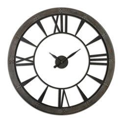 "Uttermost - Ronan 60"" Wall Clock - Dark, rustic bronze finish accented with a rust gray frame"