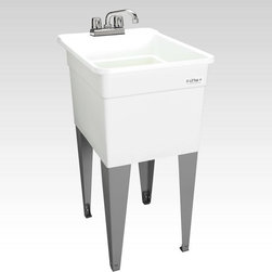 Mustee - Mustee Lil Tub Utilatub 21F Single Basin Floor Mount Utility Sink - 21F - Shop for Commercial Laundry and Utility from Hayneedle.com! Going where other tubs cannot the Mustee Lil Tub Utilatub 21F Single Basin Floor Mount Utility Sink is like the green beret of utility sinks. This rugged and all-purpose sink boasts a 15-gallon capacity with a slightly narrower body for tight spaces. The tub is crafted from impact-resistant polypropylene with an easy-to-clean surface that stands on finished steel legs. Adjustable levelers let you get stable footing in any space and the leak-proof integrally molded drain with stopper keeps the water right where you need it. This simple tub is designed to connect with a standard 1-1/2-inch P- or S-trap and only requires a double-handle faucet.About E.L. Mustee & SonsSide-arm water heaters hot plates and incinerators were all the rage when Emil Lawrence founded his innovative company back in 1932 and today E.L. Mustee & Sons keep that spirit of customer-satisfying innovation alive with their full line of products that stress functionality durability and dependability. The full line of E.L. Mustee & Sons products include DURAWALL shower and bathtub walls DURASTALL shower stalls TOPAZ bathtubs DURABASE shower floors STYLEMATE shower enclosures UTILATUB and UTILATWIN laundry tubs DURATUB laundry cabinets VECTOR and DURASTONE utility sinks DURASTONE mop service basins DURAPAN washer and water heater pans; and CareGiver easy-access showers safety grab bars and fold-down shower seats. The team at E.L. Mustee & Sons goes to great lengths to make sure that each product that leaves their U.S.-based production facility is the kind of long-lasting product that you'll use often.
