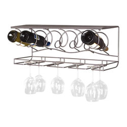 Oenophilia - Oenophilia Wine Bar Wall Mount WineRack - 6-Bottle Multicolor - 010001 - Shop for Wine Bottle Holders and Racks from Hayneedle.com! The Oenophilia Wine Bar Wall Mount WineRack features a stylish design for wine display. This uniquely designed rack is made of metal with a gun metal grey finish. Easily display up to 6 wine bottles and 8 wine glasses with a top shelf or additional bar items. It can be used to display your decorative pieces and fine wine accessories. The Wall Mounted Wine Rack looks fantastic on any wall in your home and comes complete with wall mounting hardware. Minor assembly required.