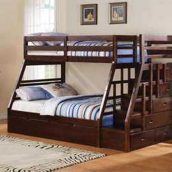Bunk Bed with Stairs - Charming bunk bed with steps and storage drawers. The Walter twin over full bunk bed with steps is constructed with solid wood in espresso finish.