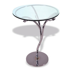 """Mathews & Company - Silver Leaf Chrome Accent Table with 18"""" Glass Top - Our overview of the new Silver Leaf Chrome Accent Table with 18"""" Glass Top is on its way but you can still purchase this wonderful piece for your home today. If you have questions about the product just drop a line or send us an email!Pictured in Glass top and Black finish."""