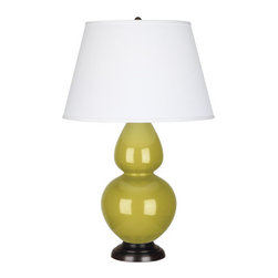 Robert Abbey - Robert Abbey Large Double Gourd Pearl Dupioni Table Lamp with Bronze Base CI21X - Citron Glazed Ceramic