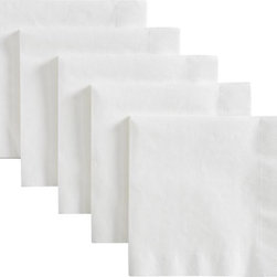 Set of 50 Lunch Napkins - Casual serving essentials square off in matched sets of deep white paperboard plates and white tissue napkins.