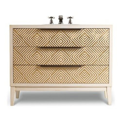 "Cole & Co. - Cole & Co. 46"" Designer Series Avery Hall Chest - Briallian Diamond White - Cole & Company combines great design with great flexibility, allowing you to mix and match size, finish, and style to create your own perfect bathroom vanity. A mesmerizing geometric design and delicate gold leaf over the brilliant white finish makes the Avery Hall Chest an unforgettable piece. Its clean lines and flair for the modern make this a truly statement piece for any bathroom, whether transitional, modern or updated traditional. Featuring two functioning drawers with a vibrant Robin's Egg Blue wallpapered interior and antique nickel pulls. Individually handmade of Select Asian Hardwood Solids.Cole & Co. has offered its famous Designer Series since 1998 and is among the most popular and well-known is the US. Featured is almost every major design and interiors magazine, each handcrafted furniture piece in the Designer Series has the back cut out by hand for plumbing and sink installation and door or drawers configured to retain usefulness and storage capabilities. Designer Series vanities come with the wooden tops as shown to replicate a fine piece of furniture much the same way fine antiques have been converted as vanities in this way for years. Each piece is thoughtfully configured for ease in plumbing installation.When purchasing Cole & Co. vanities, you will have peace of mind that you're choosing furnishings of enduring quality. Caring craftsmen pay attention to every detail such as: All drawers include wood-on-wood glides for smooth, efficient operation, and all touching drawer guide parts are waxed for smooth and quiet operation; Strength and durability are supplied by mortise and case construction reinforced with glue and metal fasteners; Solid lumber and select wood veneers are carefully chosen to permit consistent finishing as use of veneers enables more decorative looks unattainable with solid wood. Veneers, which are used only on flat surface areas such as the case tops and sides, also add weight, strength and dimensional stability; and lastly, Up to 30 finishing steps, including 13 steps of hand-sanding and accenting are used with physical distressing done by hand to insure an authentic, antique look. In addition, all items receive two to three full coats of catalyzed lacquer for extra depth and durability and a final top coat of nitrocellulose to help protect it from wear, water and light.Your Cole & Co. quality vanity is a significant investment expected to last for generations. To maintain its beauty and help it last, please refer to the Designer Series product information sheet and the Care & Cleaning FAQ. Each piece is handmade and finished and actual color may vary. Features: Completely hand madeAntique Nickel HardwareFeatures two functioning drawers with a vibrant Robin's Egg Blue wallpapered interior46""W x 18-1/4""D x 36-1/2""HFaucet(s) not includedSink(s) not included Ships with wooden topPlease confirm sink measurements will work prior to ordering. Cole & Co. can custom cut your vanity for countertops and faucets. Please contact us for details.No assembly required How to handle your counter"