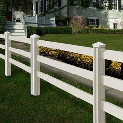 Wam Bam Fence - Wam Bam Premium Ranch Rail Vinyl Fence Panels with Posts and Caps - 4 ft. Multic - Shop for Fencing and Fencing Materials from Hayneedle.com! If good fences make good neighbors then the Wam Bam Premium Ranch Rail Vinyl Fence Panels with Posts and Caps - 4 ft. is surely going to make for some fantastic neighbors. This hassle-free fencing system is designed to deal with every fence headache you'll get from other typical fencing products. Each post is 72 inches long allowing you to sink them 24 inches into the ground like a standard fence post. From there the rails slide quickly into place on the grooved body and the fence caps can be glued on top with most standard construction adhesive. Each piece of this kit is crafted from 100% virgin white mono-extruded vinyl. All that means is that you'll have a product that won't crack fade or weather and it's okay if you scratch it because it's white through and through. UV inhibitors will keep the product from yellowing while it's in the sun and Wam Bam's products have been wind-tested to make sure that they can stand up to 74-mph Category 1 hurricane-force winds. This kit includes two posts two caps and two sets of rails. Once you've decided how much you need you'll need to purchase one last terminating post to finish the job. Additional Features: Look of freshly painted wood without the maintenance Universal posts can be used for corners ends or in-line applications Rated for a Category 1 hurricane or 74 mph winds UV-inhibitors guaranteed to maintain a bright white color Weather-resistant design won't fade crack or warp Mono-extruded vinyl is white through and through Sag-free design doesn't require aluminum reinforcement Weight: 54 lbs. About WamBamWamBam's mission is pretty simple: To change the world of do-it-yourself fencing. They've been at work manufacturing outdoor vinyl products since the '90s although their roots in the fencing industry stretch back almost 30 years. WamBam's products offer customers 