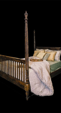 Island Collection Furniture Photos - This is our St. Croix bed and comes in a King Size and a Queen Size. It is totally hand carved in teak and one of the beds best features is the spiral hand carved posts.  They are visibly hand carved. www.islandcollection.com  Available only thru Island Collection, New Smyrna Beach, Florida.