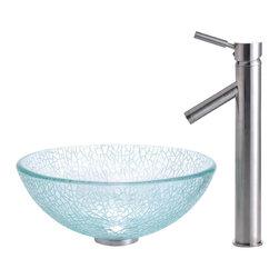 Kraus - Broken Glass 14 in. Vessel Sink and Sheven Faucet (Satin Nickel) - Finish: Satin Nickel