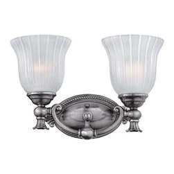 Francoise Dual Bath Light - This elegant bath light features frosted ribbed glass shades and decorative castings. The Francoise Dual Bath Light will complement many styles of decor.