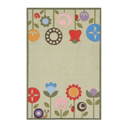 Momeni - Mod Floral Print Hand-Tufted Acrylic Rug in Grass - Lil Mo Whimsy LMJ-7 (5.0 ft. - Choose Size: 5.0 ft. x 7.0 ft. Rectangle. Hand-tufted. Mod-acrylic. Care InstructionForest critters, retro robots and mod flowers, oh my! Quirky motifs combine to put 'Lil Mo Whimsy in a class by itself. Hand-tufted of soft mod-acrylic, this collection features hand-carving for added texture and a vibrant color palette to make it as fun as it is unique.