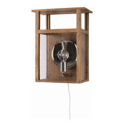 Arteriors - Hardy Sconce - This wooden box lantern features glass insets and polished nickel hardware. It serves double duty, as it can sit on a tabletop as a lamp or on the wall as a sconce. Sawtooth hangers on back and line switch.  Takes 1 - 40 w bulb.