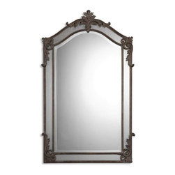 "Uttermost - Uttermost 08045 B Alvita Medium Metal Mirror - Hand forged and hand hammered metal finished in aged wood tone with a heavy gray glaze and antiqued side mirrors. Center mirror has a generous 1 1/4"" bevel."