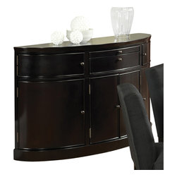 """Steve Silver Furniture - Steve Silver Maurice Sideboard in Sleek Black - The sleek, modern look of the Maurice Dining Collection adds a dynamic city feel to any space. The black-finished Maurice sideboard adds plenty of stylish storage space to your dining area with its stylish bow front and six cabinets and two drawers. Measuring 32"""" high, 50"""" long, and 20"""" wide, it's the perfect complement to the Briana dining set."""