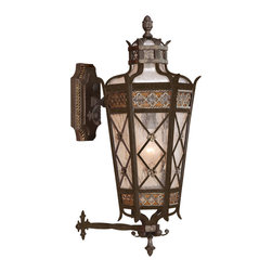 Fine Art Lamps - Chateau Outdoor Outdoor Wall Mount, 404381ST - Bienvenue, old-world elegance! This welcoming outdoor lamp features a top wall mount of solid brass and body in rich variegated gold and umber patina reminiscent of fine European estates or town homes. The antiqued, seeded glass shade conceals one bulb.