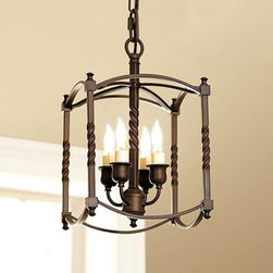 "Ballard Designs - Carriage House Chandelier - Small - Handcrafted of steel with four candle arms. 6' hanging chain & 5"" Diam ceiling plate. 60W max. candle bulb. Its distinctive square cage and twisted post design are reminiscent of a late 18th century carriage lamp. Ideal in an entry or small dining area, it's handcrafted of steel with four candle arms and can be hung or semi-flush mounted.Carriage House Chandelier features:.  . ."