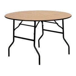 "Flash Furniture - 48"" Round Wood Folding Banquet Table with Clear Coated Finished Top - This wood folding table is very useful since it can be instantly stored and is easy to carry at the same time. This durable table was built for constant use in hotels, banquet rooms, training rooms and seminar settings. Not only is this table durable enough for the everyday rigors of commercial use this table can be used in the home when it comes to setting up your own personal party plans."