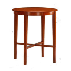 """Boraam - 42"""" High Pub Table with Round Solid Top in Espresso Cherry - Features: -Solid hardwood construction in Es cherry finish. -Cross leg support system adds strength and character. -Modern style works well with 29"""" stool height. -Dimensions: 42"""" H x 36"""" W x 36"""" D."""