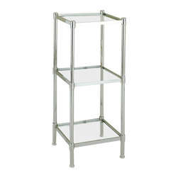 """Organize It All Inc. - Glacier Shelf Tower In Chrome - 3 Shelf - The Glacier Three and Four Tier Shelves features a tubed steel frame with a chrome finish and clear tempered glass shelving. Its sleek and skinny design allows it to fit in smaller spaces while not taking up too much space. The glass shelves allow for storage of all kinds of bathroom essentials or decorative home items and has the added benefit of not sucking up any limited lighting which may be available to you.  Keep things bright and neat on these nicely finished units: available with three shelves or as a taller unit with four shelves. Dimensions:3 Shelves: 13.25""""W x 13.25""""D x 31""""H4 Shelves: 13.25""""W x 13x25""""D x 48""""H"""