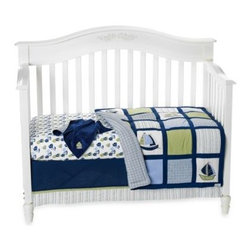 Nautica Kids - Nautica Kids Zachary 6-Piece Crib Bedding Set - Sail the high seas to adventure with this sea-faring set from Nautica Kids. Collection features sweet sailboats in classic Nautica styles and comes in shades of blue, green and white.