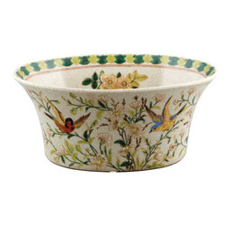 Oriental Danny - Porcelain planter - Hand painted porcelain oval planter in Whisper Springs pattern. Great as centerpiece and flower arrangement